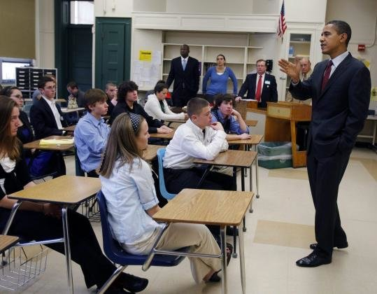 Obama speaks to students in school