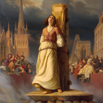 Paiting depicts Joan of Arc chained to pillar