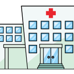 Computer generated image of a hospital with many windows and glass doors