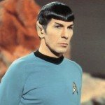 Leonard Nimoy as Spock with pointed ears and black hair