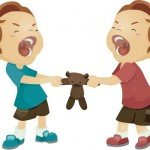Cartoon image of two children fighting over a teddy bear