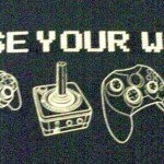 Black and white image of video game controllers that reads Choose Your Weapon