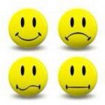 Four yellow smiley faces express different emotions