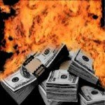 Stacks of US money are bursting in flames