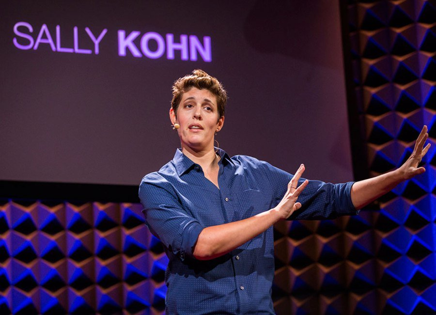 Sally Kohn speaking live with name on TV in background