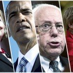 Image of Hillary Clinton, Barack Obama, Bernie Sanders, and Elizabeth Warren