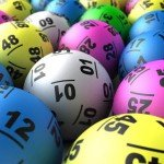 Multi color lottery balls with varying numbers written on them