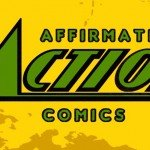 Logo for Affirmative Action Comics on yellow spash background