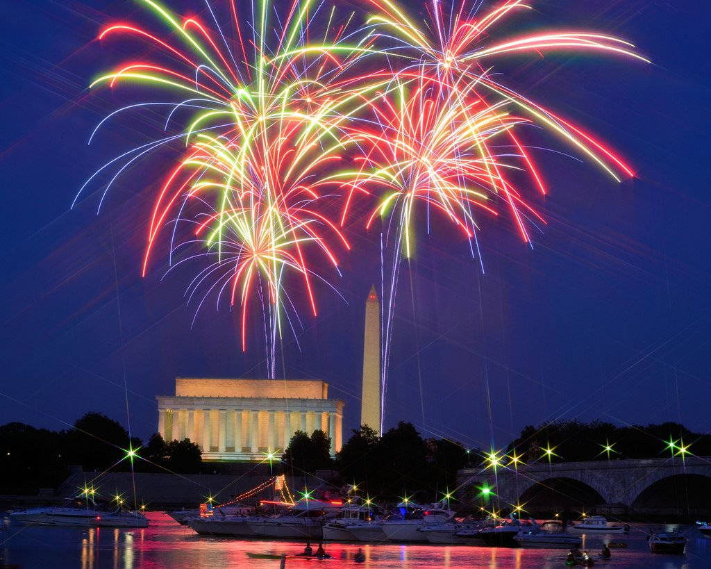 Bright red and green fireworks display in Washington DC