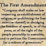 Image of quote from The First Amendment regarding freedom of speech