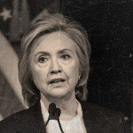 Black and white image of Hillary Clinton giving a speech