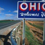 Welcome sign to Ohio reads Ohio Welcomes You