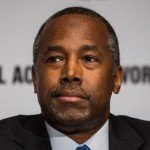 Closeup of Ben Carson during speaking event