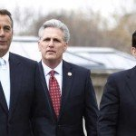 Boehner, McCarthy and Cantor walking outside