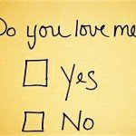 Handwritten letter reading Do you love me? with yes/no checkbox