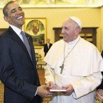 Pope Francis and President Obama with big smiles